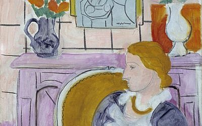 "The painting ""Woman in Blue in Front of a Fireplace,"" circa 1937 by Henry Matisse. The painting has been the centerpiece of the Henie Onstad Art Center near Oslo since the museum was established in 1968 by shipping magnate Niels Onstad and his wife, Olympic figure-skating champion Sonja Henie. (photo credit: AP Photo/Oystein Thorvaldsen, Henie-Onstad Art Centre)"