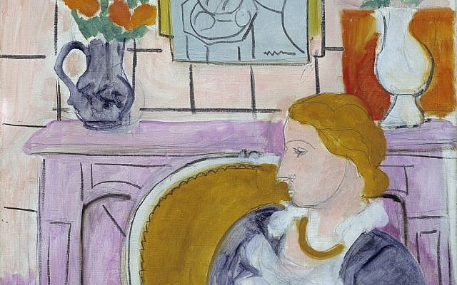 """The painting """"Woman in Blue in Front of a Fireplace,"""" circa 1937 by Henry Matisse. The painting has been the centerpiece of the Henie Onstad Art Center near Oslo since the museum was established in 1968 by shipping magnate Niels Onstad and his wife, Olympic figure-skating champion Sonja Henie. (photo credit: AP Photo/Oystein Thorvaldsen, Henie-Onstad Art Centre)"""