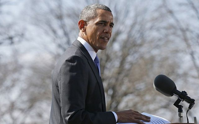 President Barack Obama announcing second round of economic sanctions against Russia over the annexation of Crimea, on Thursday, March 20, 2014. (photo credit: AP Photo/Charles Dharapak)