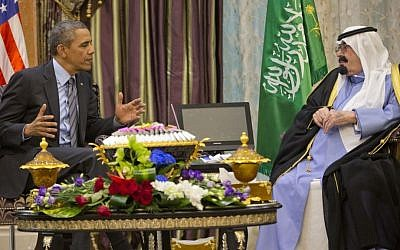 US President Barack Obama meets with Saudi King Abdullah at Rawdat Khuraim, Saudi Arabia, Friday, March 28, 2014. (photo credit: AP/Pablo Martinez Monsivais)