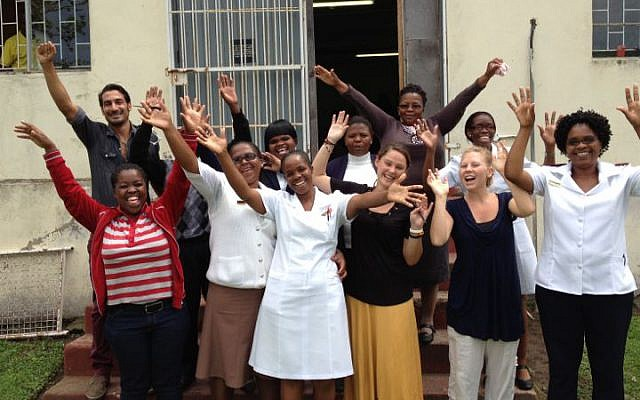 Wellness Centre-Isilimela Hospital, Eastern Cape, staff on hearing the news that their application to the PATA Child-Friendly Clinic Initiative was successful. (courtesy PATA)
