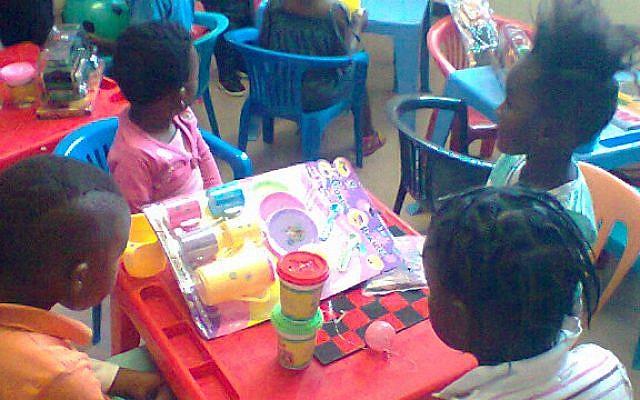 Children enjoying their new child-friendly area at Govan Mbeki Hospital, Eastern Cape, thanks to the PATA Child-Friendly Clinic Initiative. (courtesy PATA)