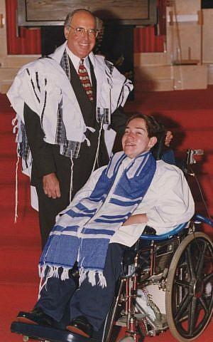 Rabbi Charles Sherman and son Eyal at his bar mitzvah. (courtesy of Rabbi Charles Sherman)