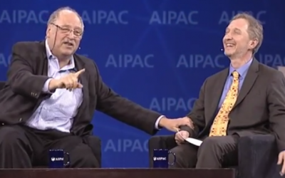 Yossi Vardi and David Horovitz at AIPAC 2014 (photo credit: AIPAC video screenshot)