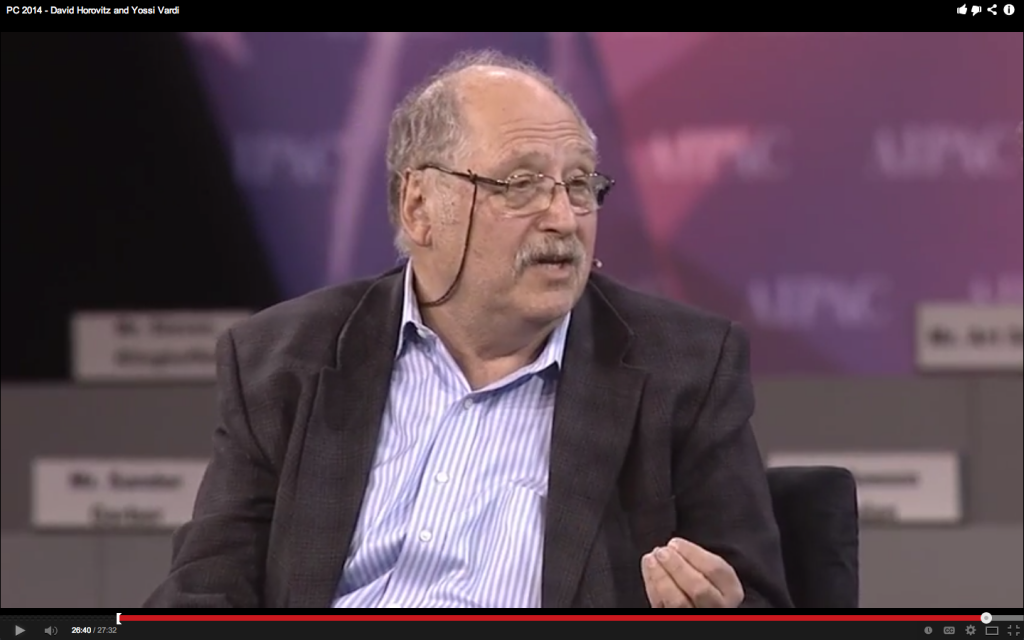 Yossi Vardi at AIPAC 2014 (photo credit: AIPAC video screenshot)