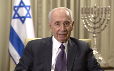 President Shimon Peres in a holiday message to the Iranian people, March 20, 2014 (photo credit: screenshot via YouTube)