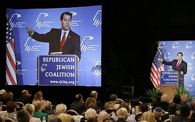 Wisconsin Gov. Scott Walker speaks at the Republican Jewish Coalition, Saturday, March 29, 2014, in Las Vegas (photo credit: AP/Julie Jacobson)