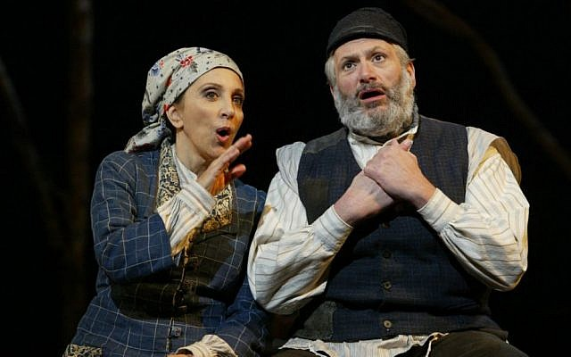 Andrea Martin (left), as Golde and Harvey Fierstein (right) as Tevye in the revival of 'Fiddler on the Roof,' on Broadway's Minskoff Theater in New York, 2005 (photo credit: AP/Carol Rosegg, File)