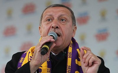 Turkish Prime Minister Recep Tayyip Erdogan addresses supporters in Istanbul, Turkey, on March 29, 2014. (photo credit: AP)
