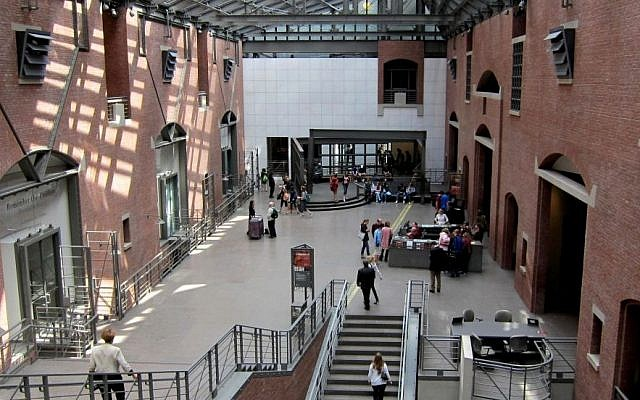Interior of the United States Holocaust Memorial Museum, Washington, D.C.  (Photo credit: CC-BY-SA AgnosticPreachersKid, Wikimedia Commons)