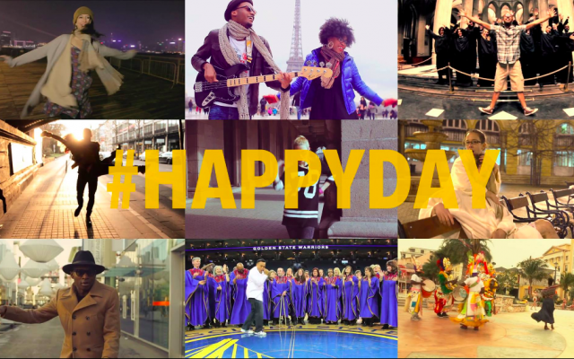 A montage of 'Happy' video photos from Pharrell Willliams' 24hoursofhappiness website (Courtesy Pharrell Williams Facebook Page)