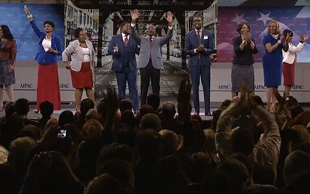Chris Harris and members of his Bronzeville church singing 'Walk With Me,' at the AIPAC convention Sunday. (screen capture: AIPAC)