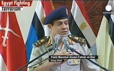 Former Egyptian Army chief Abdel-Fattah el-Sissi (photo credit: Youtube screenshot)