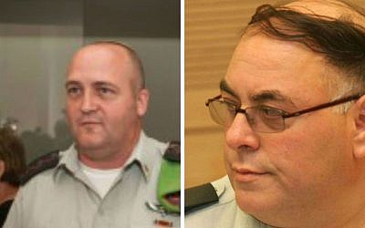 Colonel Erez Weiner (L) and former IDF spokesman Avi Benayahu (photo credit: Flash 90)