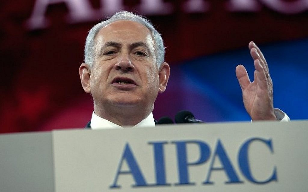Prime Minister Benjamin Netanyahu addresses the AIPAC policy conference in Washington, DC, on March 4, 2014. (photo credit: AFP/Nicholas Kamm)