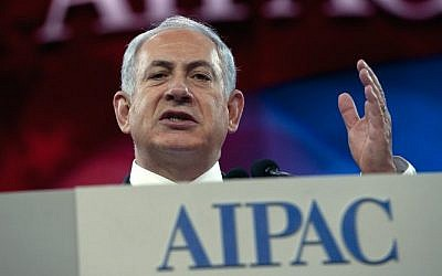 Prime Minister Benjamin Netanyahu addresses the AIPAC policy conference in Washington, DC, on March 4, 2014. (AFP/Nicholas Kamm)