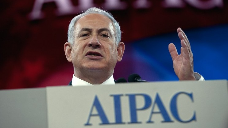 Prime Minister Benjamin Netanyahu addresses the American Israel Public Affairs Committee (AIPAC) policy conference in Washington on March 4, 2014 (photo credit: AFP/Nicholas KAMM)