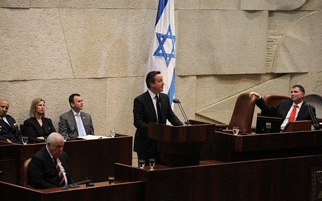 UK Prime Minister David Cameron addresses the Knesset, March 12, 2014 (photo credit: Knesset spokesperson)