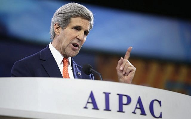 US Secretary of State John Kerry speaking at AIPAC, March 2014 (photo credit: JTA Photos)
