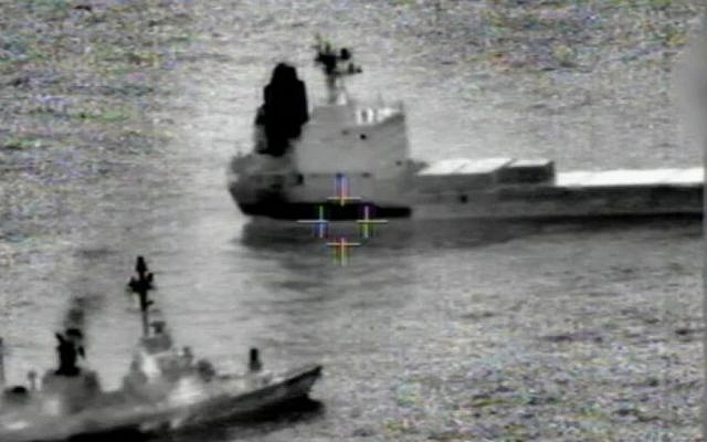 Footage of the capture of the 'Klos-C' on Wednesday, March 5, 2014. (Screen capture: IDF)