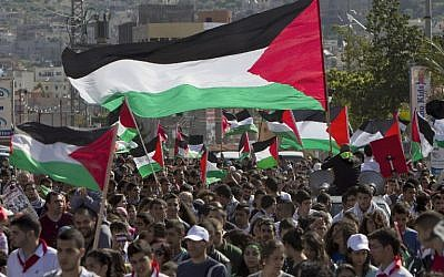 Arab Israelis wave Palestinian flags during a rally commemorating Land Day on March 30, 2014 in the northern Arab-Israeli town of Arrabe (photo credit: AFP)
