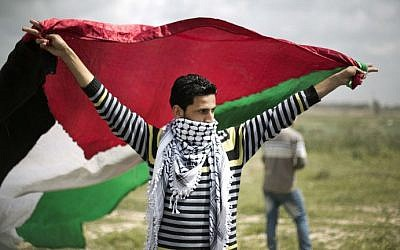 A protester waves a Palestinian flag towards the Israeli border fence during a protest marking Land Day at the border between Israel and Gaza Strip on March 30, 2014 (photo credit: AFP)