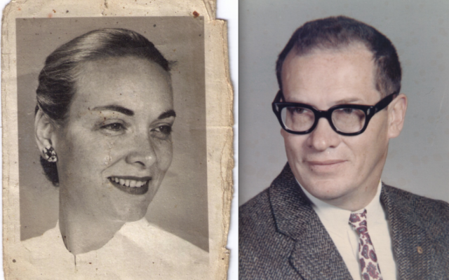 Zipora Saar's cousin Philip Walrod, shown while serving as a California school's headmaster, and his second wife Dory, a physician. (Courtesy of Duane Walrod/JTA)