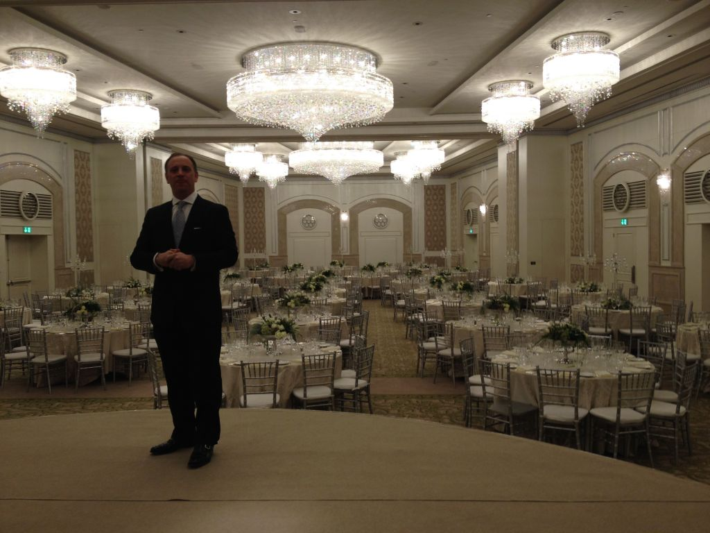 General manager Guy Klaiman in the Waldorf's ballroom (photo credit: Jessica Steinberg/Times of Israel)