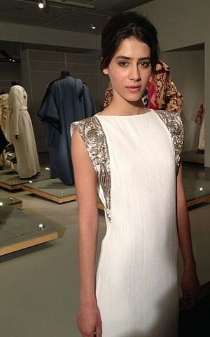 The prayer shawl-inspired wedding dress by Maskit (photo credit: Jessica Steinberg/Times of Israel)