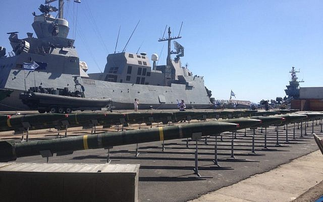 M-302 missiles set up in Eilat Monday. (photo credit: Mitch Ginsburg / Times of Israel)