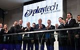 Officials from Playtech and the London Stock Exchange celebrate Playtech's listing on the Exchange's Main Market in July 2012 (Courtesy)