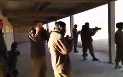 Soldiers at the shooting range. (Screen capture: YouTube)