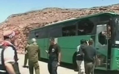 A bus hit by gunmen on Route 12 near Eilat following an August 18, 2011 terror attack near the Egyptian border (Photo credit: Youtube screen capture)