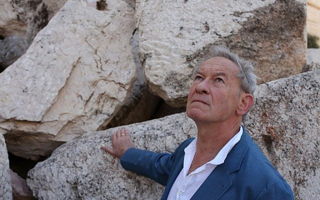 Simon Schama in his documentary 'The Story of the Jews' visits the site of the Temple Mount in Jerusalem. (photo credit: Courtesy of Tim Kirby © Oxford Film & Television 2012, via JTA)