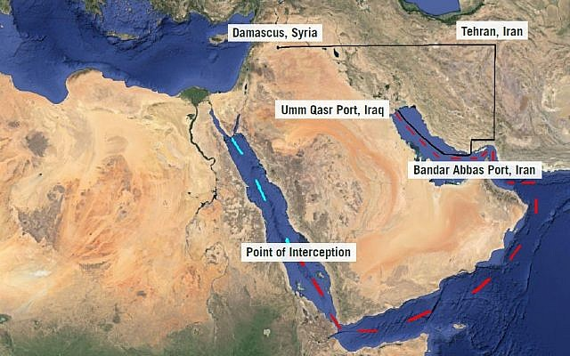 The route of the Iranian weapons shipment captured by the IDF on Wednesday, March 5 (Photo credit: IDF)