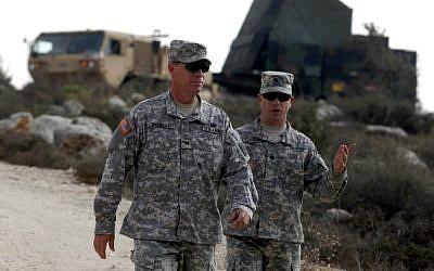 US soldiers next to a Patriot anti-missile battery west of Jerusalem (illustrative photo: Lior Mizrahi/Flash90)