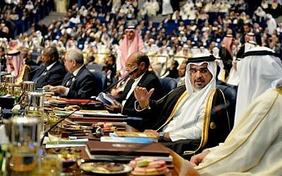 Bahraini Crown Prince Salman bin Hamad Al Khalifa, second right, attends the opening session of the Arab League Summit in Bayan Palace, Kuwait City, Tuesday, March 25, 2014 (file photo credit: AP/Nasser Waggi)
