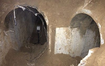 The discovered tunnel in a handout photo released by the IDF, March 21, 2014. (photo credit: IDF Spokesman's Office)