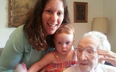 Gisela Dollinger, right, with family (photo credit: courtesy Carole Vogel)