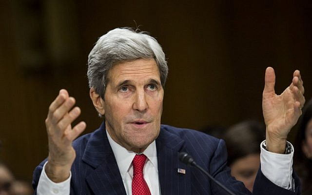 US Secretary of State John Kerry, Tuesday, April 8, 2014 (photo credit: Drew Angerer/Getty Images/AFP)