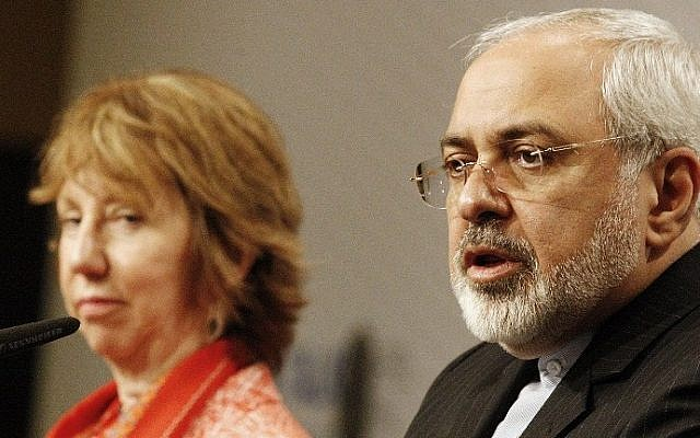 Iran's Foreign Minister Mohammad Javad Zarif, right, speaks during a joint press conference with EU foreign policy chief Catherine Ashton, at UN Headquarters in Vienna, Austria, in April 2014 (photo credit: AFP/Dieter Nagl)