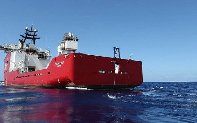 A handout photo taken on April 4, 2014, and released on April 5 by Australian Defense shows the towed pinger locator being towed by Australian Defence Vessel Ocean Shield in the first search for the missing flight data recorder and cockpit voice recorder of Malaysia Airlines flight MH370 in the southern Indian Ocean. Two vessels were searching underwater for missing Malaysia Airlines Flight MH370 on Saturday, as the clock ticked on the signal from its black box. (photo credit: LSIS Bradley Darvill/Australia Defence/AFP)
