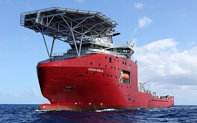 A handout photo taken on April 4, 2014, and released on April 5 by Australian Defense shows the towed pinger locator being towed by Australian Defense Vessel Ocean Shield in the first search for the missing flight data recorder and cockpit voice recorder of Malaysia Airlines flight MH370 in the southern Indian Ocean. (photo credit: AFP/Australia Defense/LSIS Bradley Darvill)