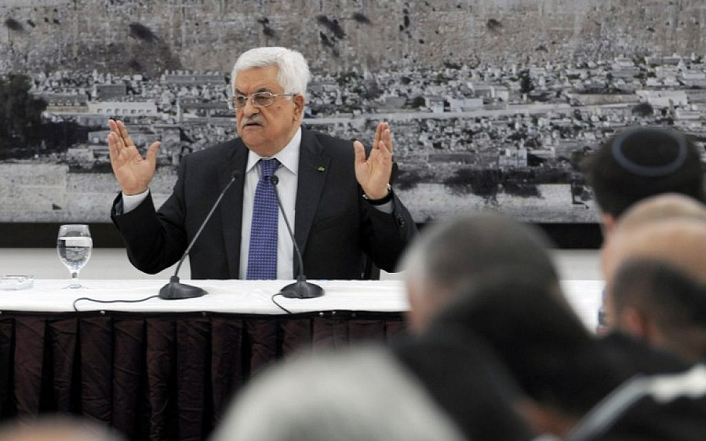 Palestinian Authority President Mahmoud Abbas holds a press conference in the West Bank city of Ramallah on April 22, 2014. (photo credit: AFP/ PPO/THAER GHANAIM)