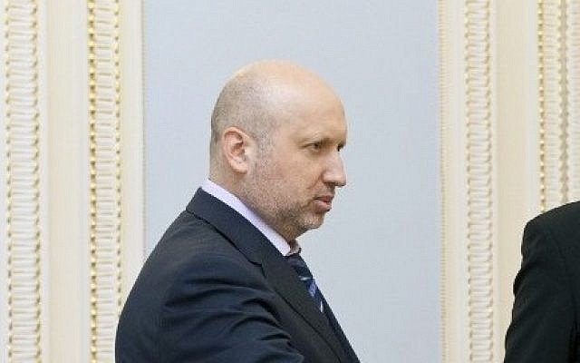 Acting Ukrainian President Oleksandr Turchynov (photo credit: AFP/Ukrainian Presidential press-service/Anastasiya Syrotkyna)