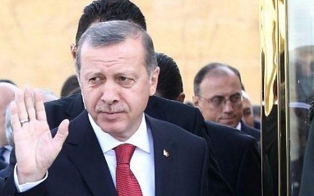 Turkish Prime Minister Recep Tayyip Erdogan on April 23, 2014. (photo credit: AFP PHOTO/ADEM ALTAN)