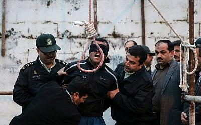 Balal Abdullah is brought to the gallows in Iran, April 15, 2014. (AFP/Arash Khamooshi/ISNA)