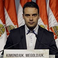 Chairman of the far-right parliamentary Jobbik (Better) party Gabor Vona. (photo credit: AFP PHOTO/Peter Kohalmi)