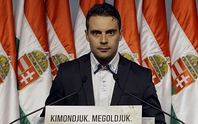 Chairman of the Jobbik party Gabor Vona. (photo credit: AFP PHOTO/Peter Kohalmi)