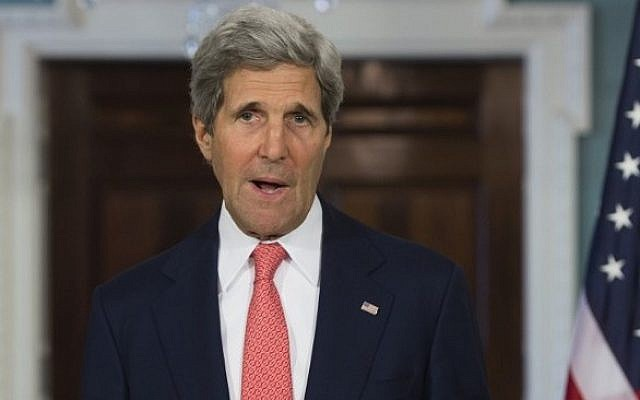 US Secretary of State John Kerry speaks about the collapse of Mideast peace talks between the Israelis and Palestinians at the US State Department in Washington, DC, April 24, 2014. (photo credit: AFP/Saul Loeb)